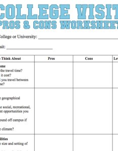 College visit pros  cons worksheet also checklist familyeducation rh