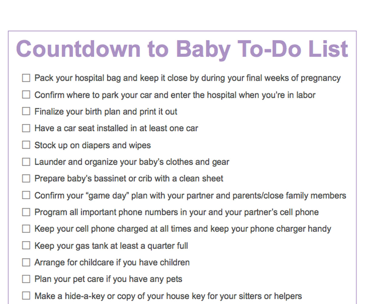 Third Trimester To Do List