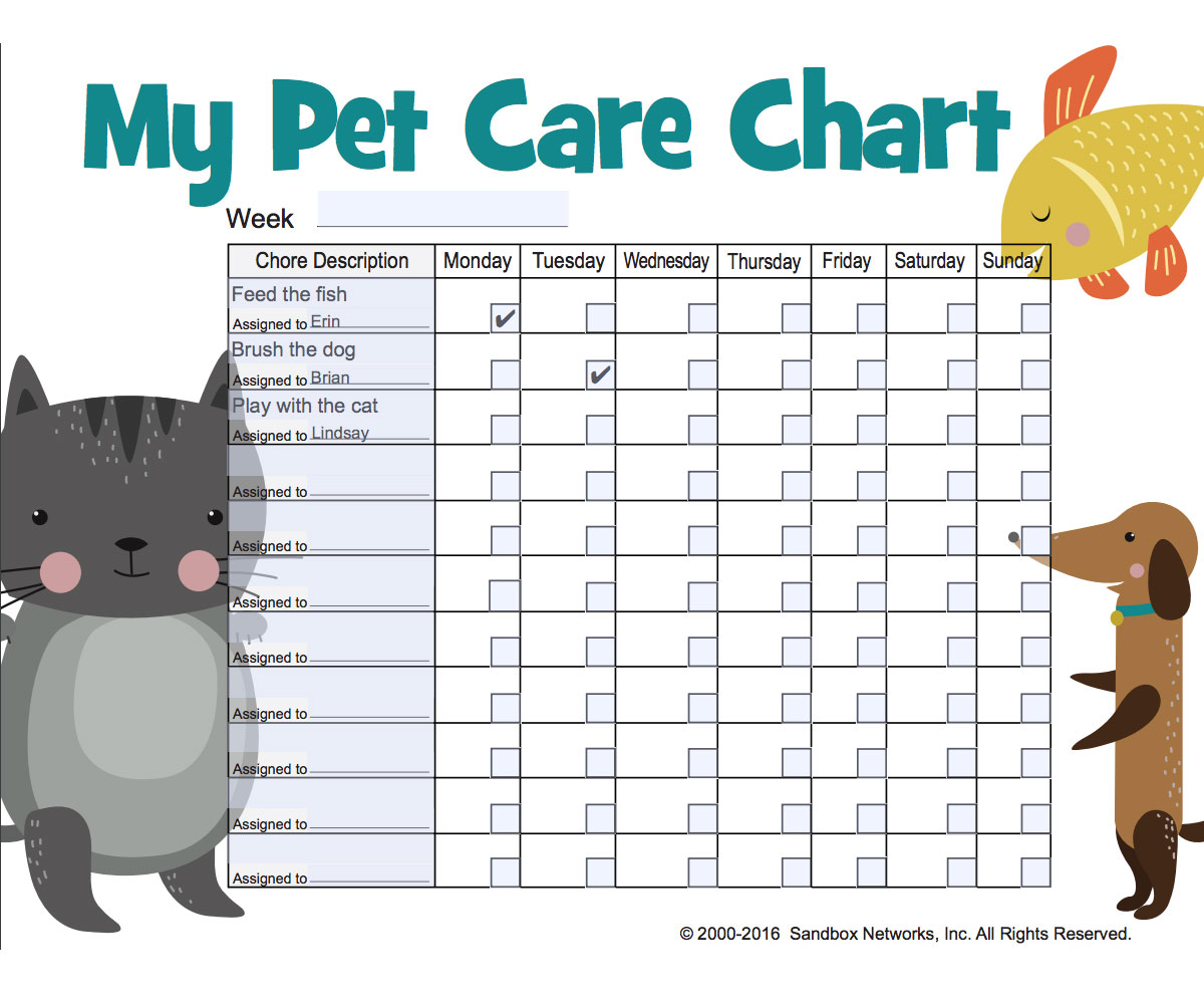 Pet Care Chore Chart Free Printable For Kids