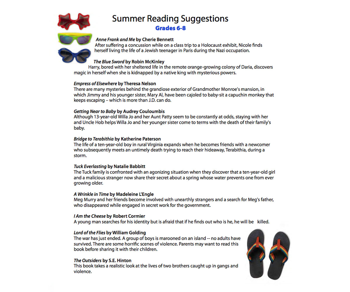 Summer Reading List For Grades 6th 7th 8th Grade Printable