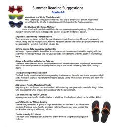 Summer Reading List for Grades 6th [ 1000 x 1200 Pixel ]