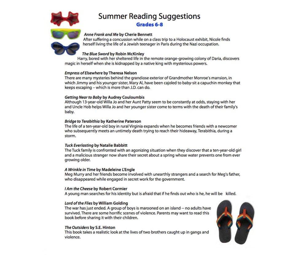 medium resolution of Summer Reading List for Grades 6th