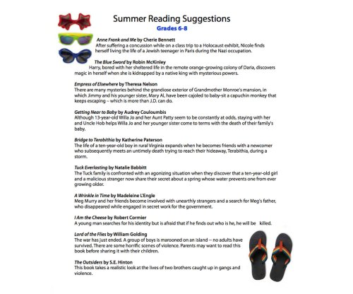 small resolution of Summer Reading List for Grades 6th
