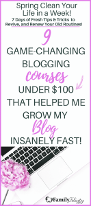 Blogging courses and education is essential to having any real success in blogging. Taking endless hours to research free articles online and learning by trial and error will only take you so far. These 9 blogging courses are each unique and under $100 and will help take your blog to your next level vision. #Blogging #BloggingCourses