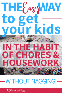 Get a super simple plan to get your kids in the habit of doing household chores. Chores for kids! #cleaning #kids #children #Organizing #parenting
