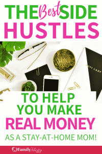 Making extra money from home is easier than you think! Find 20 simple side hustles moms can start to earn extra income today! #sidehustle #makemoney #savemoney