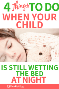 If your potty trained child is still wetting the bed at night, don't panic. Try doing this instead! #parenting #kidsandparenting #momadvice #gentleparenting