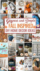 These Fall inspired DIY Home decor projects will have you running to grab your DIY supplies! Let your home shine this Fall with these gorgeous ideas. #decor #Fall #DIY #home