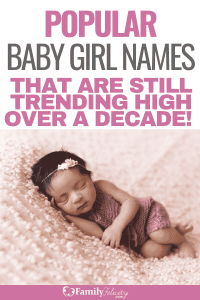 The cute baby girl names are so popular that they haven't stopped trending high for over a decade! Get the full list here! #babynames #babies #pregnancy