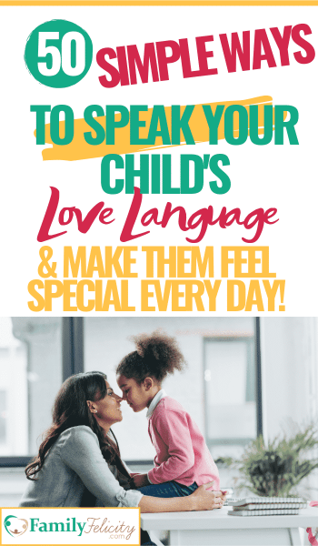 Want to know the secret to making your child feel loved every day? It's learning to speak your child's love language! This post will both help you learn their love language and give you 50 simple ways to speak your child's love language every day! #lovelanguage #parenting #kidsandparenting #positiveparenting #gentleparenting