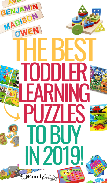 These fun learning focused toddler puzzles will keep your toddler busy learning and having fun! This post helps you find the best toddler puzzle for your 2, 3, or 4 year old! #toddler #toddlerapproved #toddlertoys #toddleractivities