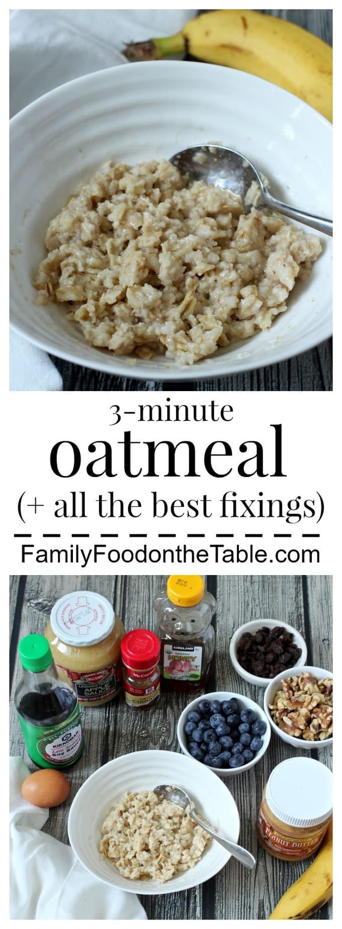 3 minute microwave oatmeal family