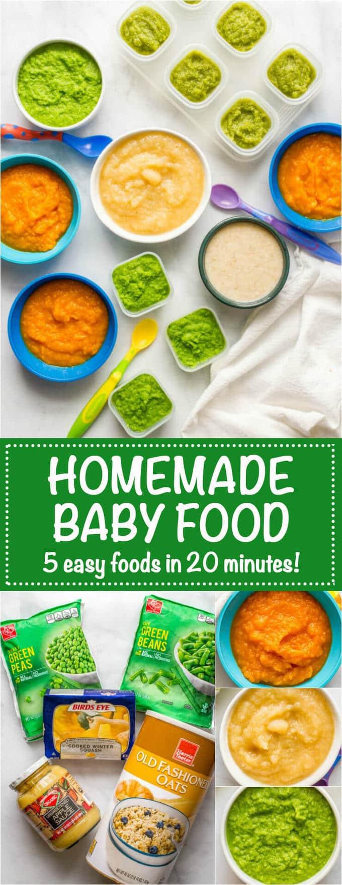 Homemade baby food peas green beans applesauce butternut ...