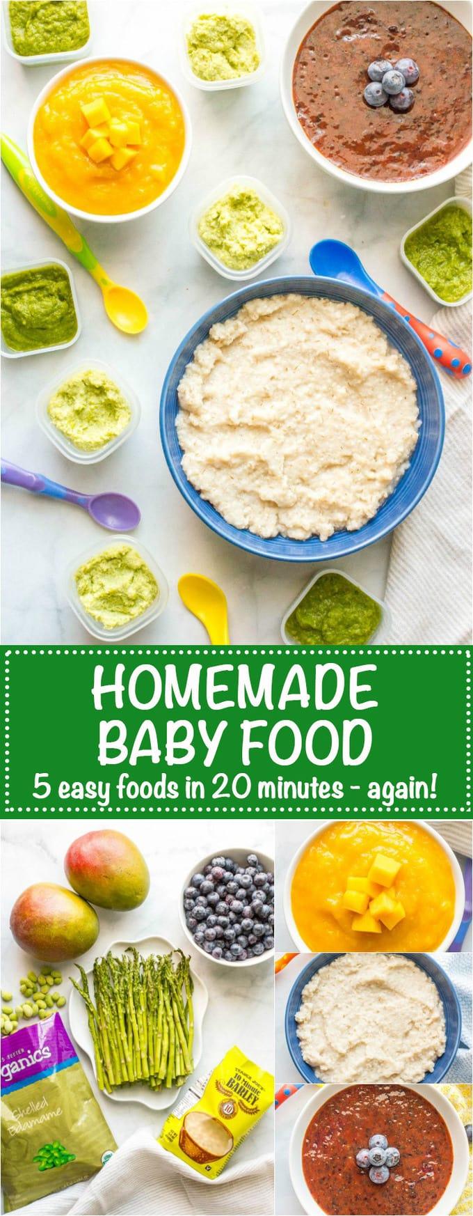Homemade baby food barley asparagus edamame blueberries ...