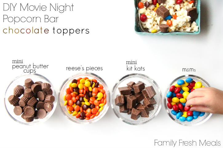 DIY Movie Night Popcorn Bar - chocolate toppers ideas - familyfreshmeals.com