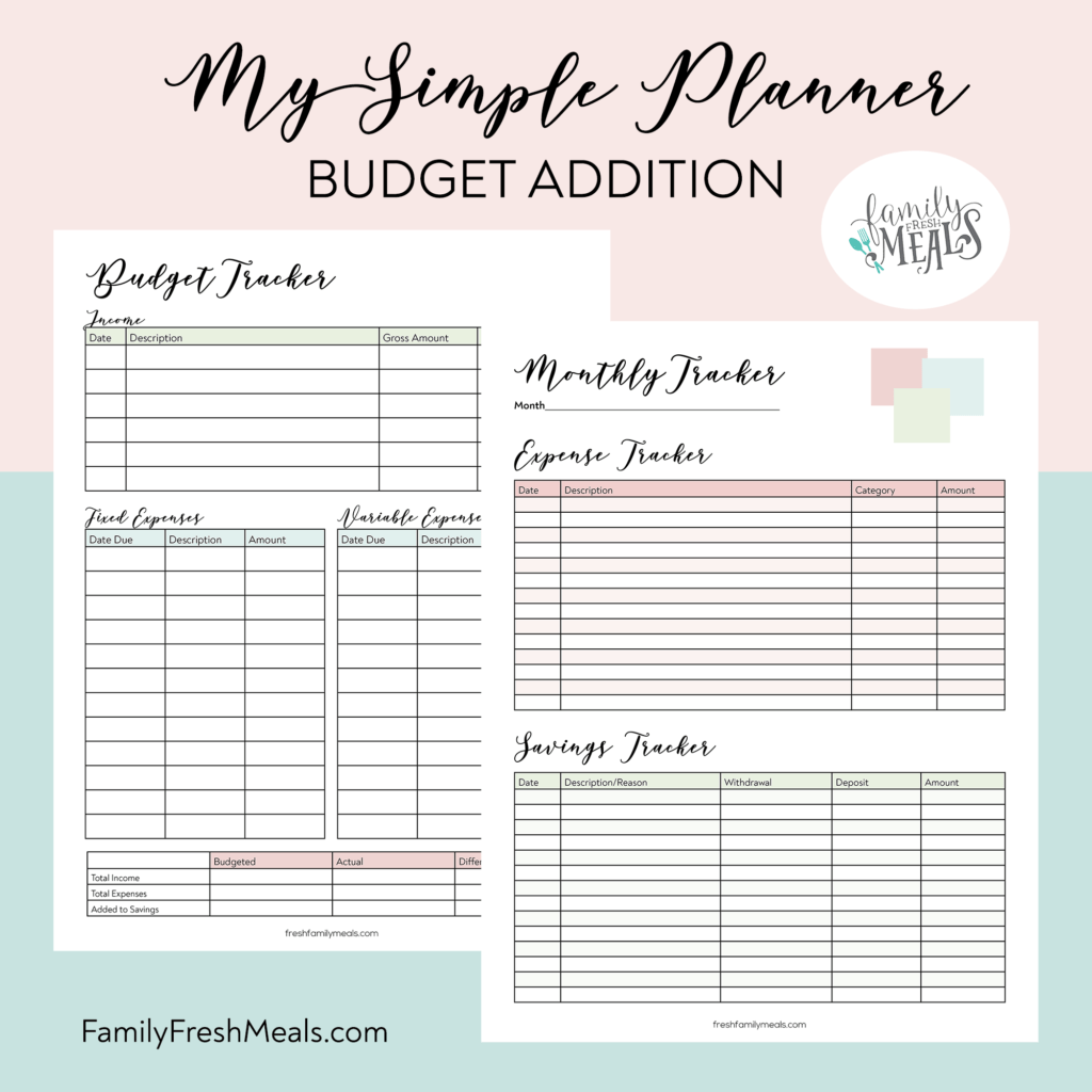 My Simple Planner Budget Tracker Addition