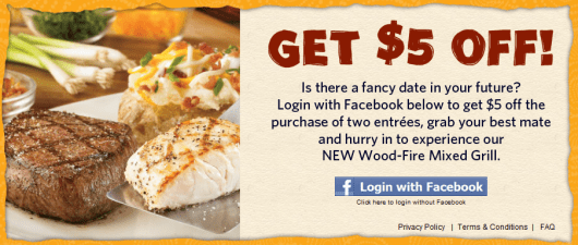 Outback Steakhouse $5 Off 2 Entrees Coupon