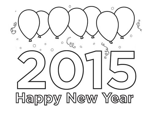Free coloring pages of happy new year 2015