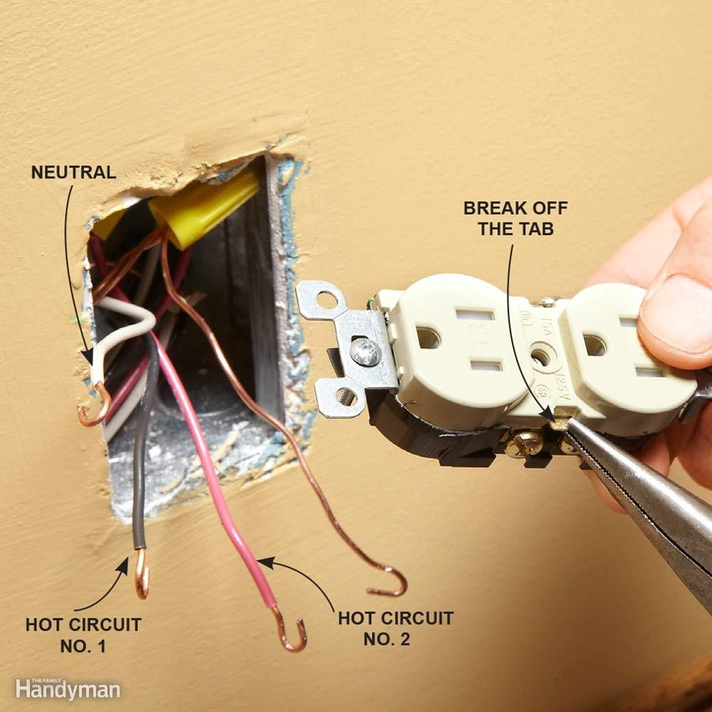 hight resolution of wiring a switch and outlet the safe and easy way family handymanmatch the breakaway tab to