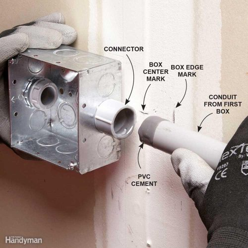 small resolution of install electrical boxes and pvc conduit one run a at time