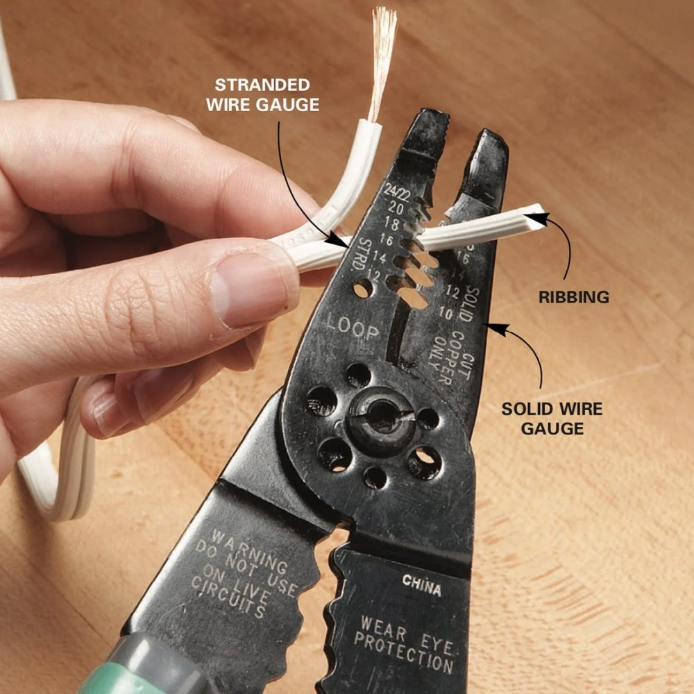 medium resolution of strip the insulation off the wire by cutting and pulling the wire through the wire stripper to prepare the cut end for a new plug cut or pull the two