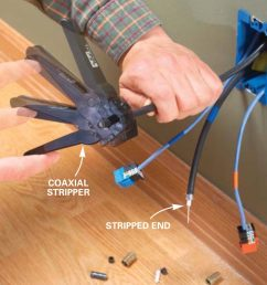 clamp the stripper tool around the coaxial cable with about 5 8 in of the cable projecting past the tool spin it around the cable several times until the  [ 1200 x 1200 Pixel ]