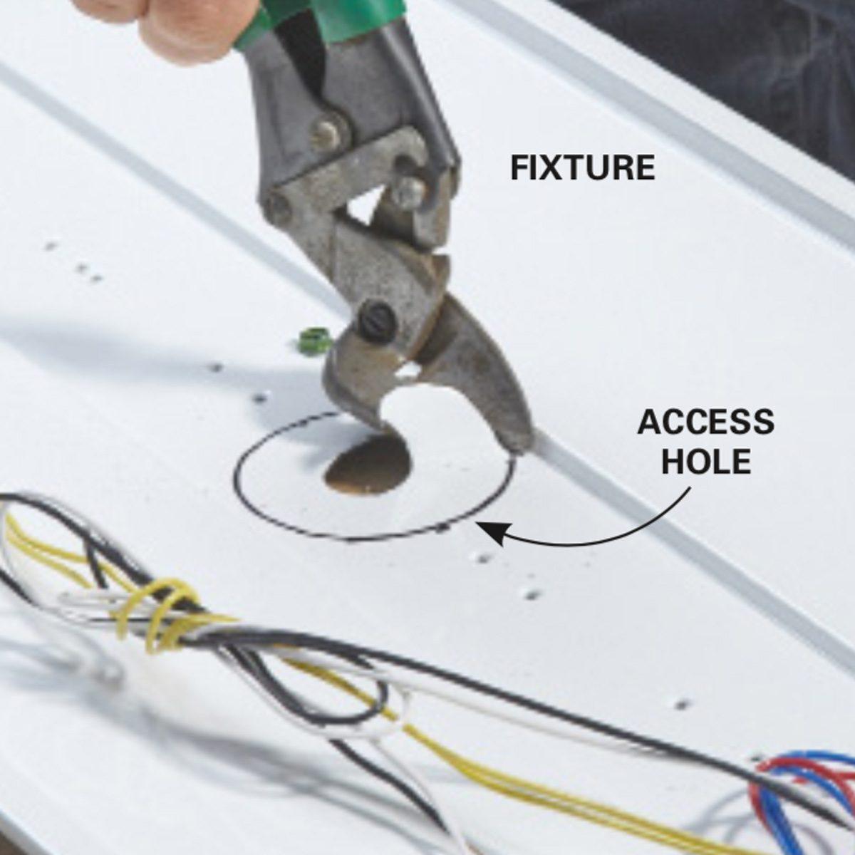 hight resolution of add fluorescent lights cut an access hole