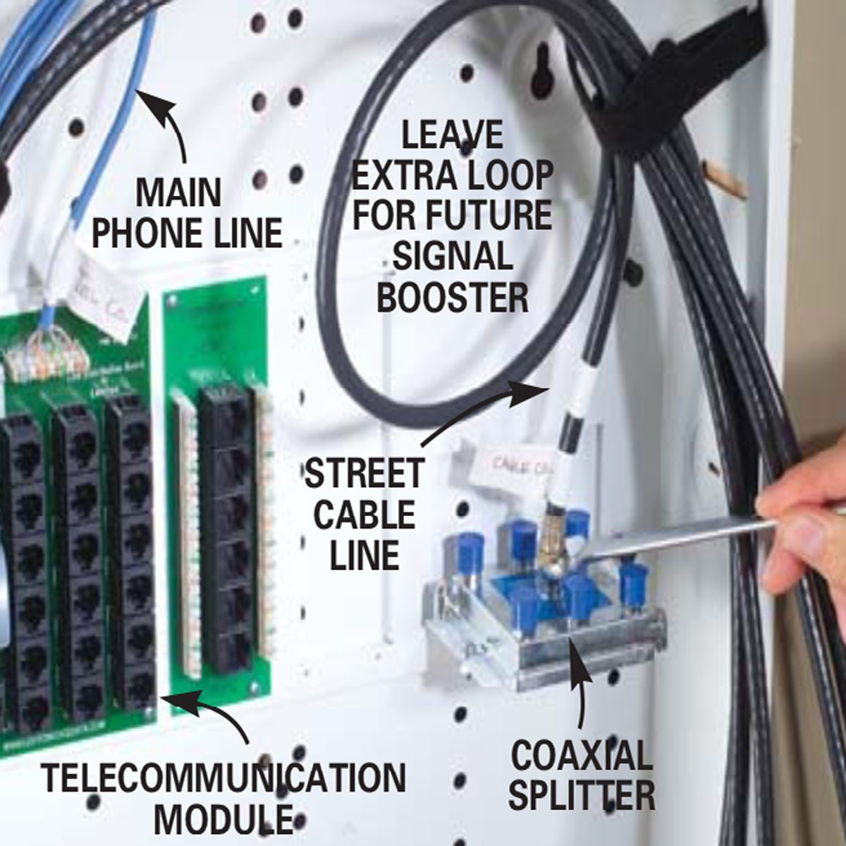 hight resolution of connect the main phone and coax cables