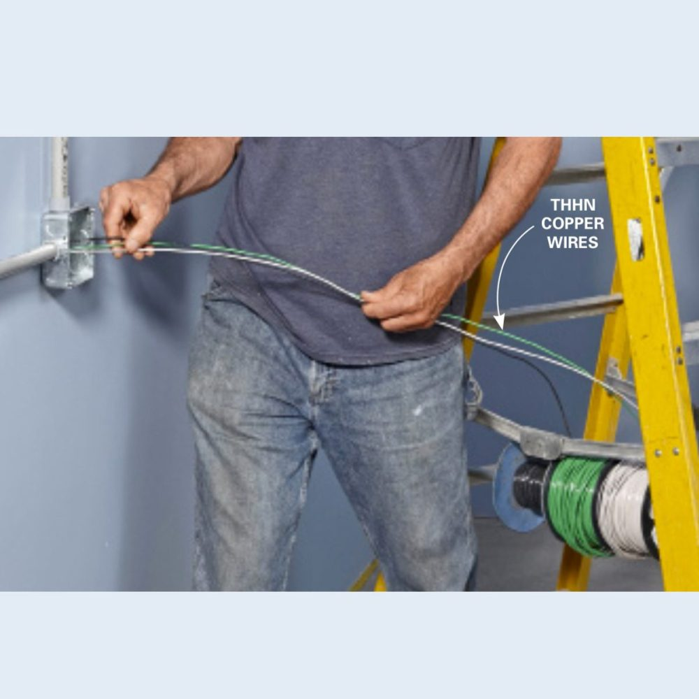 medium resolution of push wires into the conduit