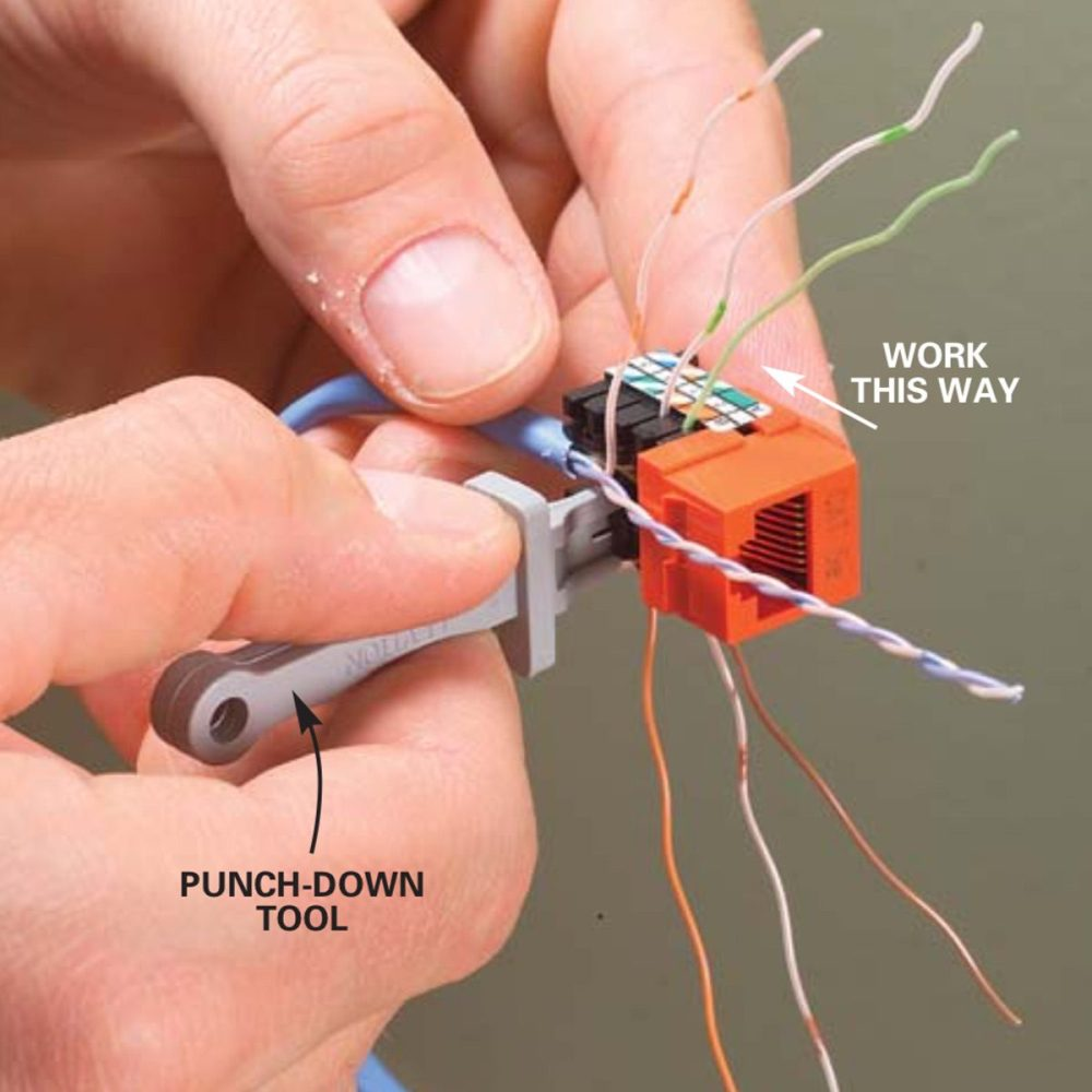 medium resolution of gently untwist the colored pairs and bend them into the matching terminals work from the front of the jack toward the back using the punch down tool that