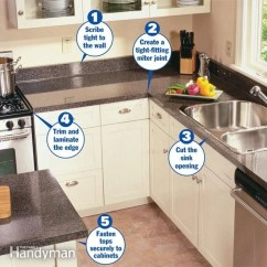 Replacing Kitchen Countertops Chrome Faucets How To Install A Countertop The Family Handyman