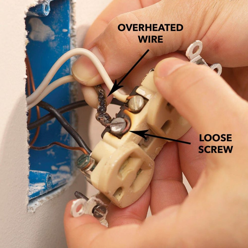medium resolution of bad outlet overheated wire