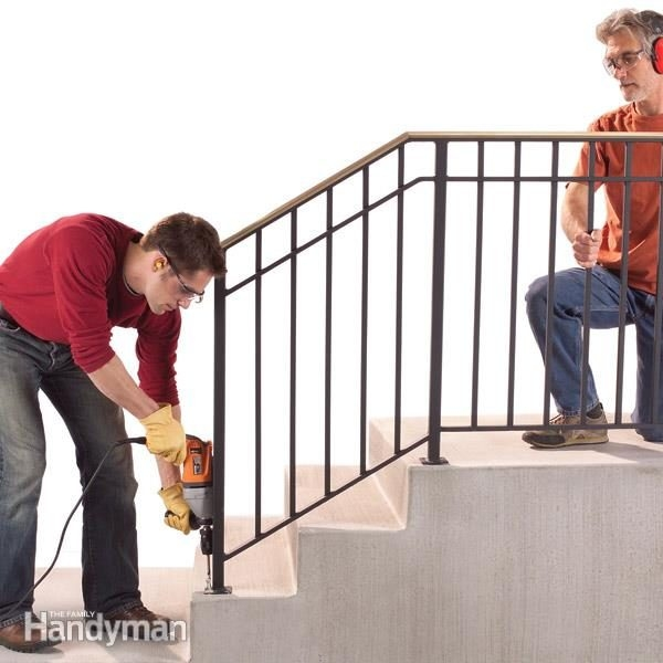 Safety First Install An Outdoor Stair Railing — The Family Handyman | Wood Railing On Concrete Steps | Stair Railing | Diy | Wooden | Railing Mode | Staircase