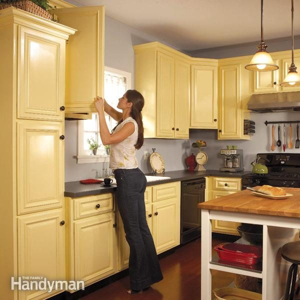 How To Spray Paint Kitchen Cabinets Diy The Family Handyman