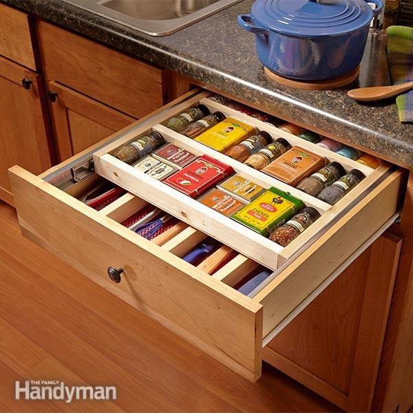 two tier kitchen drawer organizer pendant lights over island two-tier spice rack | the family handyman
