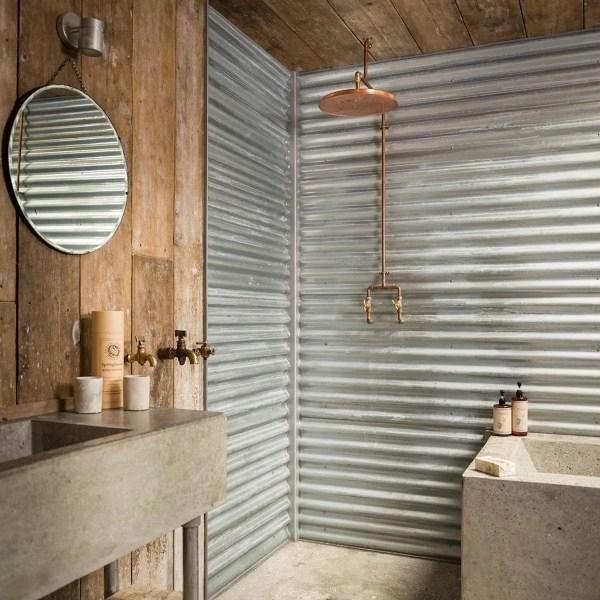 Corrugated Metal Bathroom Wall Ideas