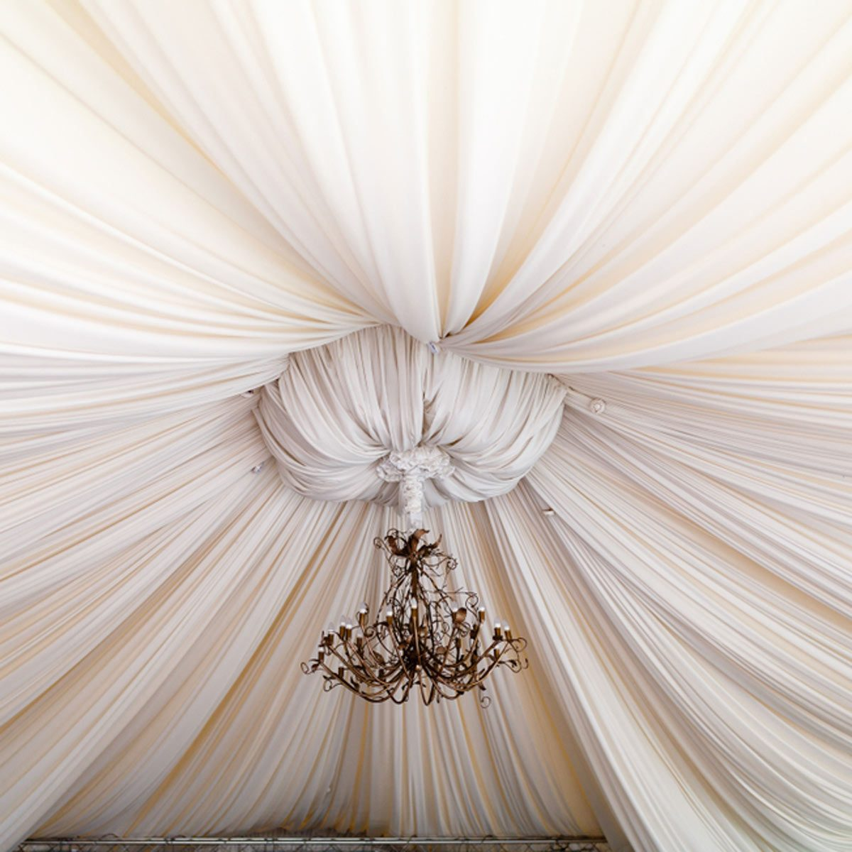 hight resolution of fabric ceiling gather