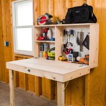 DIY Fold Up Garage Workbench