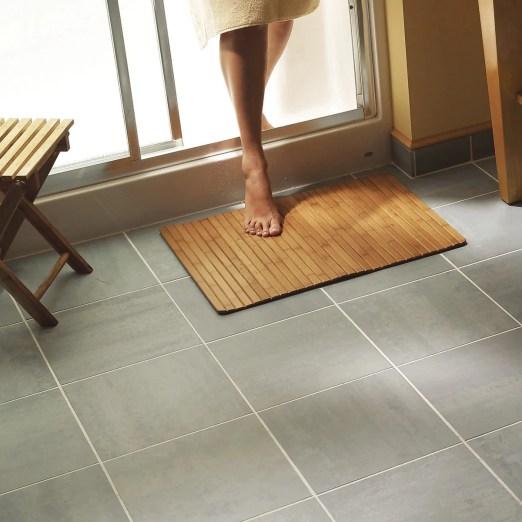 ceramic tile floor in the bathroom