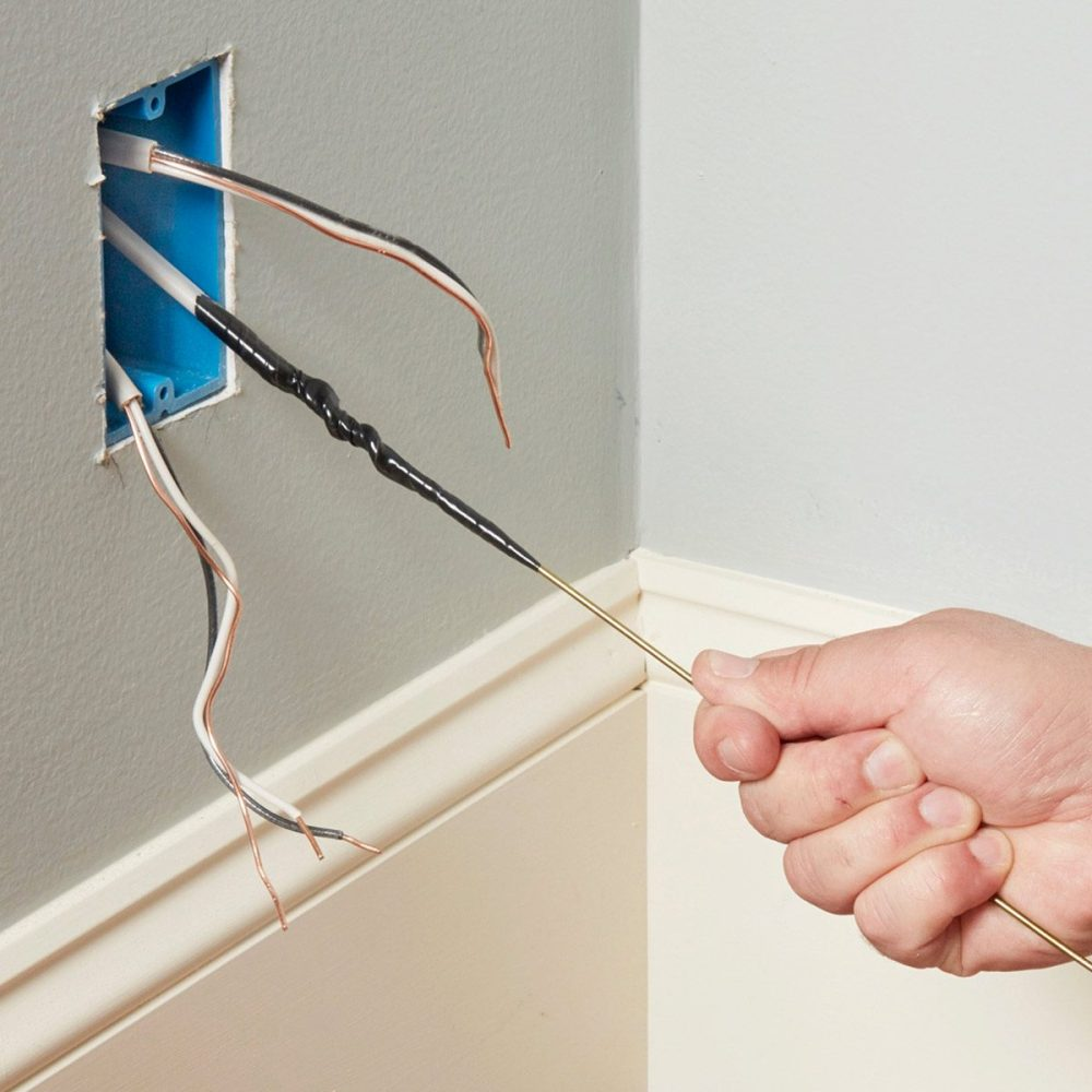 medium resolution of fishing wires through outlet