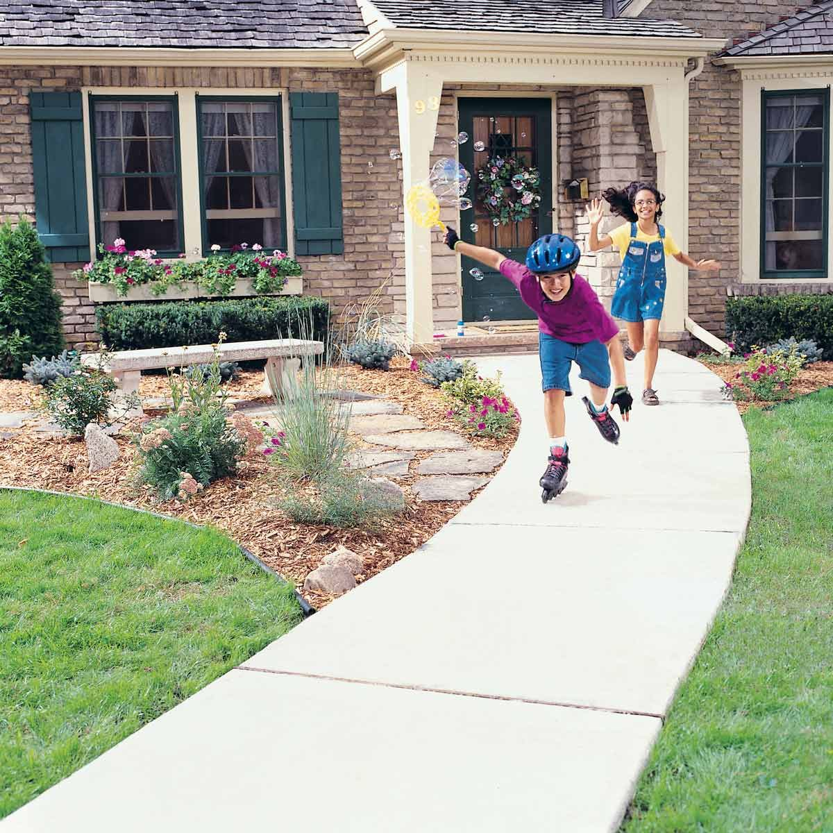 hight resolution of concrete sidewalk kids roller blading playing outside concrete walkway cost cost of sidewalk