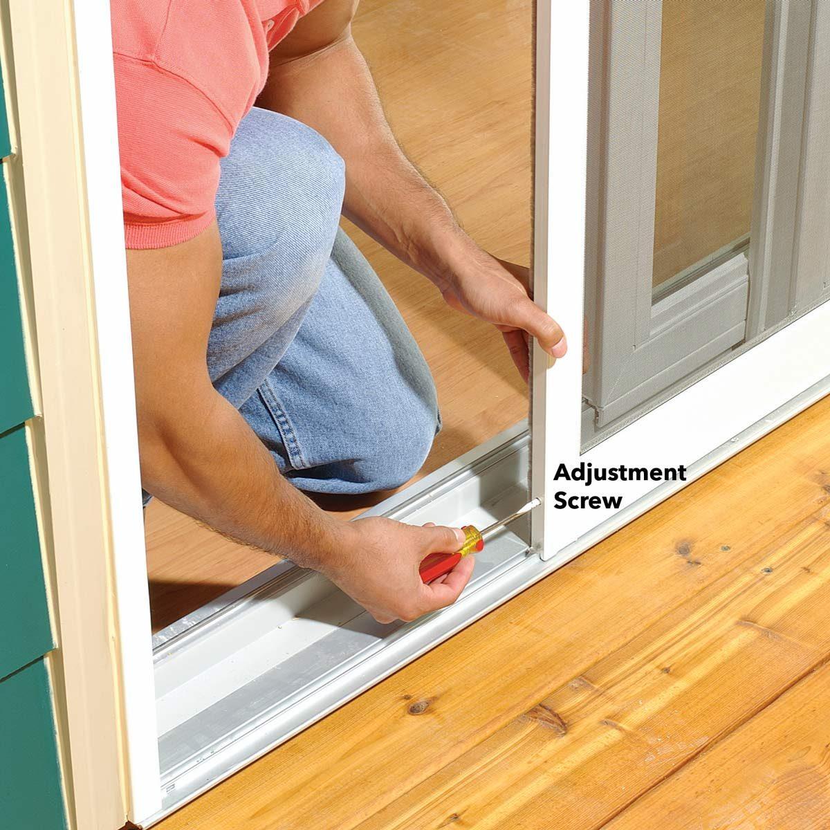 to adjust a sticking patio screen door