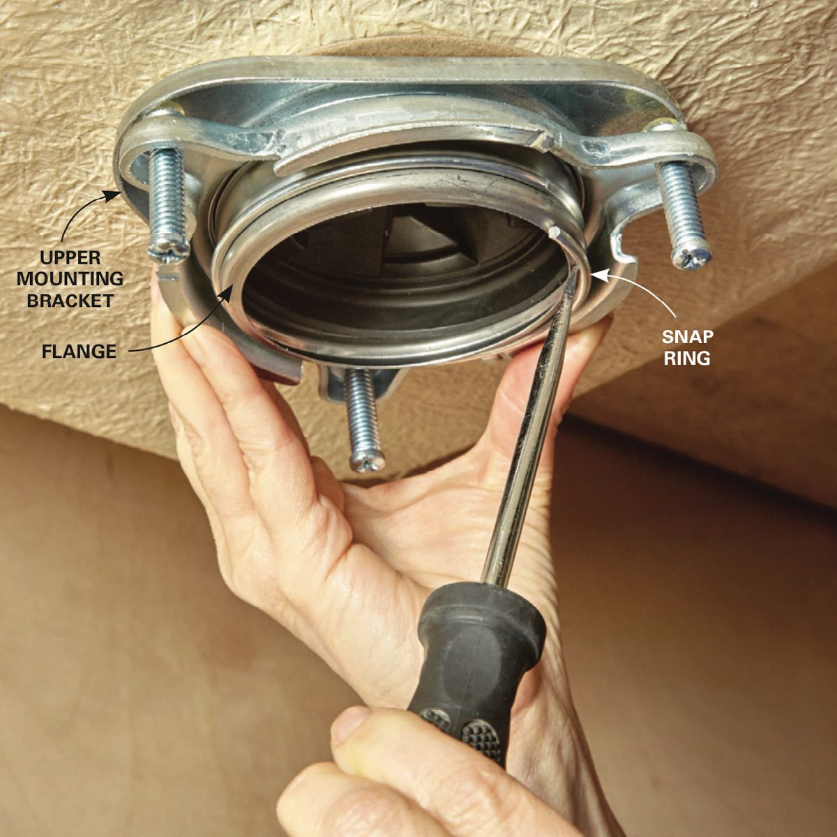 hight resolution of the snap ring fits into a groove on the lower end of the sink flange when you re working under the sink it prevents the upper mounting bracket from