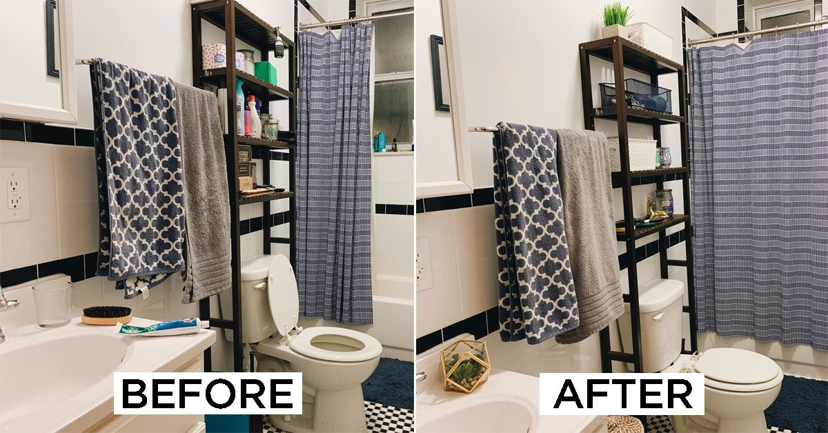 Before After Here S How I Redid My Bathroom Decor Under 100 Family Handyman