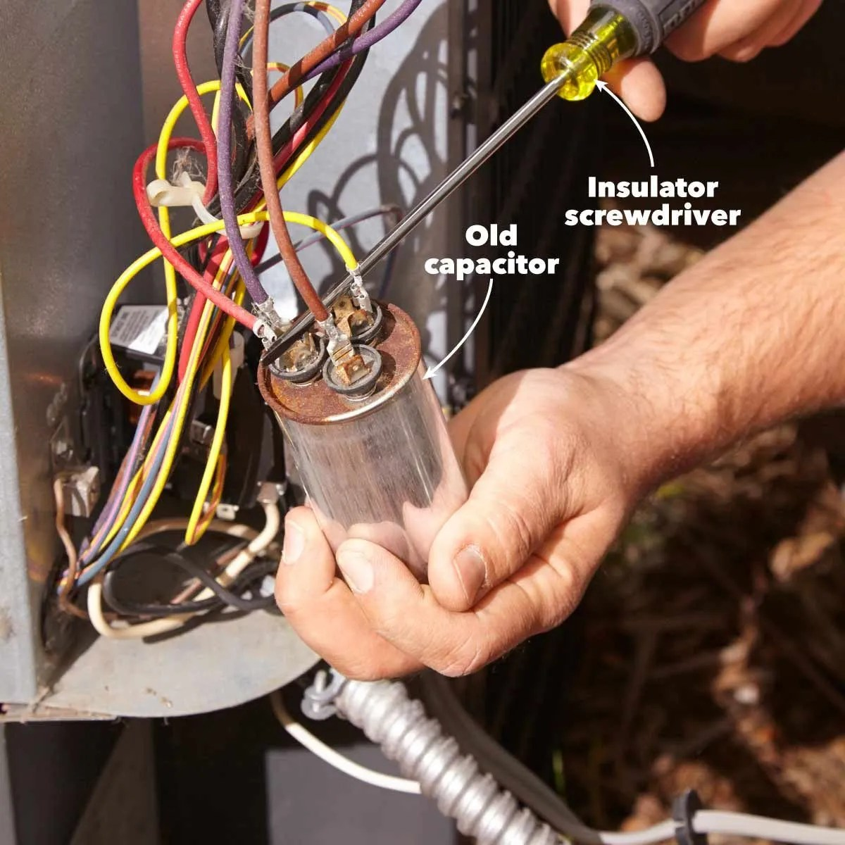 hight resolution of hvac troubleshooting photo 4 discharging a dual start run capacitor