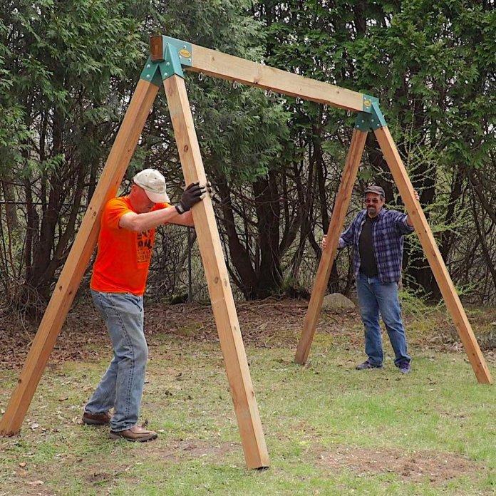 How To Build An Easy Diy Swing Set Family Handyman