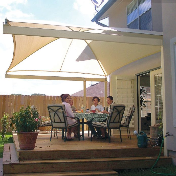 your deck or patio with a diy awning