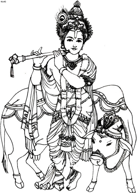 Free coloring pages of lord krishna drawing