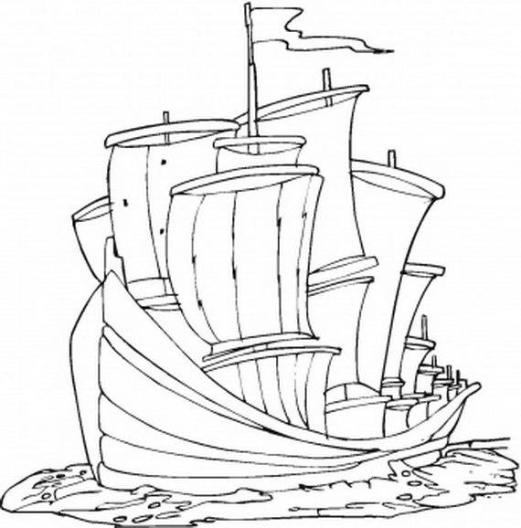 Columbus Day Ships Coloring Pages