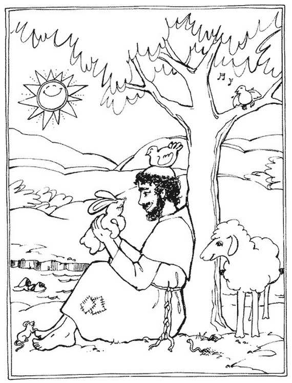 St. Francis of Assisi Coloring pages for Catholic Kids